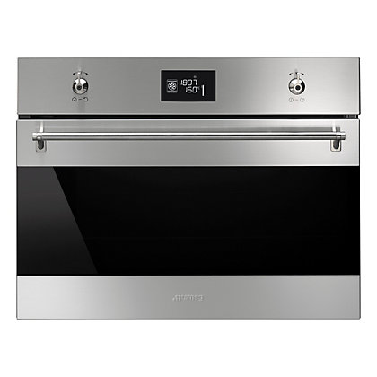 Image for Smeg SFP4390X Classic Black Glass Multi Function Compact Oven - Stainless Steel from StoreName
