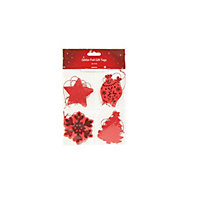 Red Glitter Foil Gift Tags 20 pack