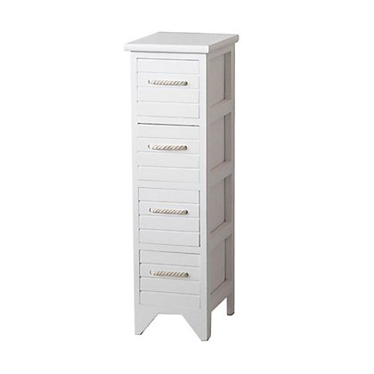 Image for Nautical White Wooden Bathroom Unit - 4 Drawer from StoreName