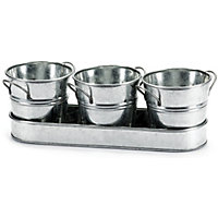 Zinc Herb Pots And Tray - 30cm