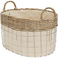 Oval Metal Wire Willow Basket With Liner