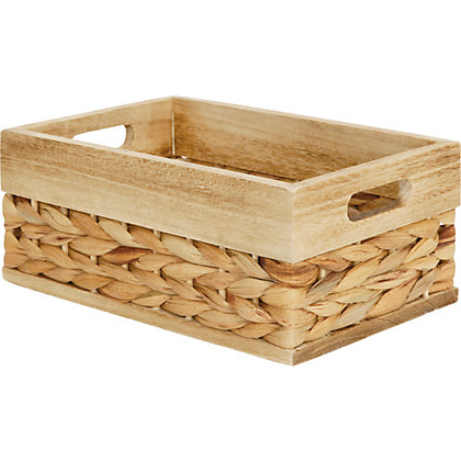Image for Water Hyacinth Basket With Wood Trim from StoreName