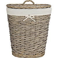 Washed Grey Willow Laundry Bin