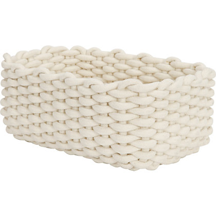 Image for Large Cream Rectangle Cotton Rope Basket from StoreName