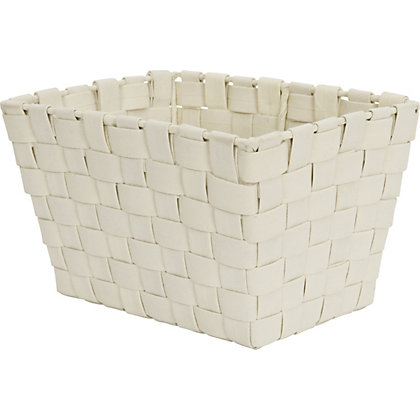 Image for Small Cream Woven Fabric Basket from StoreName