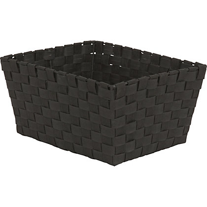 Image for Large Black Woven Fabric Basket from StoreName