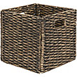 Black Washed Water Hyacinth Storage Cube