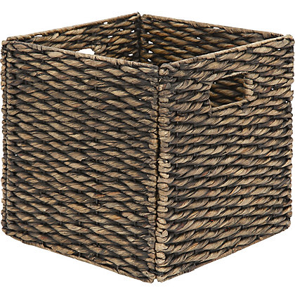 Image for Black Washed Water Hyacinth Storage Cube from StoreName