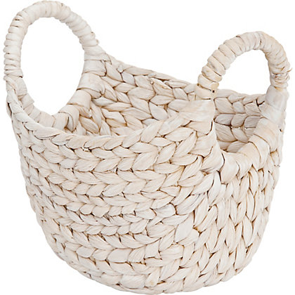 Image for White Wash Small Oval Basket from StoreName