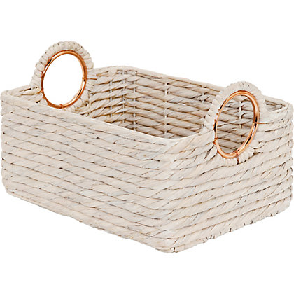 Image for Lge White Basket With Copper Handles from StoreName