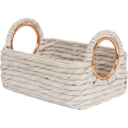 Image for Sml White Basket With Copper Handles from StoreName