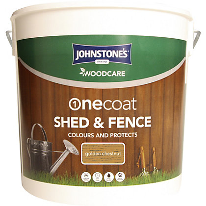 Image for Johnstones OneCoat Shed and Fence Woodcare Golden Chestnut - 5L from StoreName