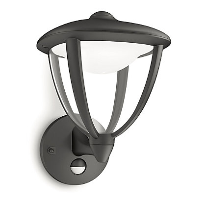 Image for Philips Robin Wall Lantern with PIR - Black from StoreName