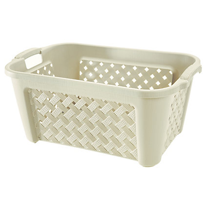 Image for Plastic Ivory Laundry Basket from StoreName