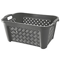 Plastic Charcoal Laundry Basket - Small