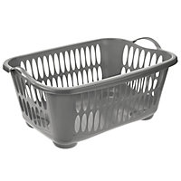 Plastic Charcoal Laundry Basket - Large