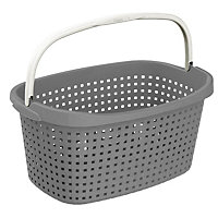 Rattan Effect 40L Laundry Basket - Grey