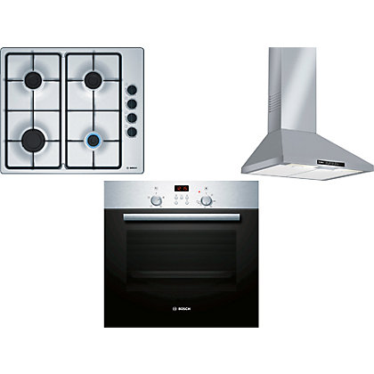 Image for Bosch DWW06W450B Cooker Hood, HBN331E4B Single Oven & PBP6B5B60 Gas Hob Package from StoreName