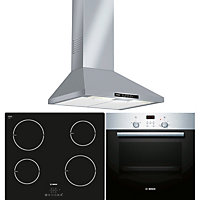 Bosch Appliance Package - HBN331E4B Oven, PIA611B68B Induction Hob & DWW06W450B Cooker Hood