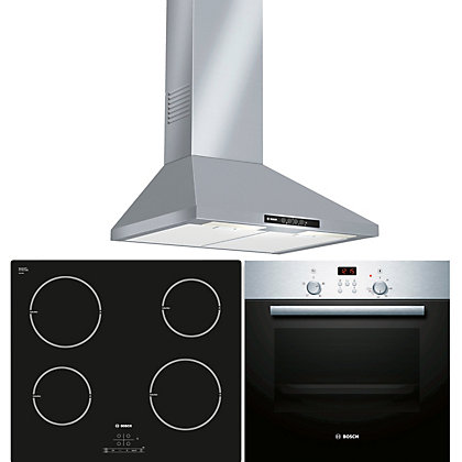 Bosch Appliance Package Hbn33134b Oven Pia611b68b Induction Hob Dww06w450b Cooker Hood