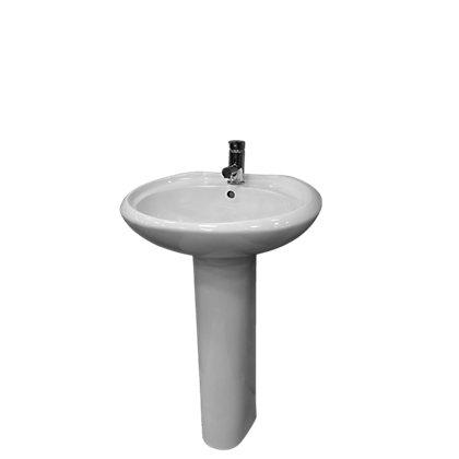 Image for Estilo White Takeaway 1 Tap Hole Basin & Pedestal from StoreName
