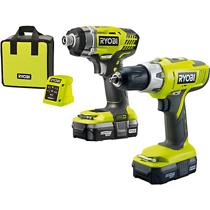 Image for Ryobi R18CK2A-LL 18v ONE+ Combi Drill & Impact Driver – 2x 1.3AH Batteries from StoreName