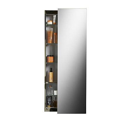 Image for Croydex Alvy Tall Sliding Door Cabinet - Stainless Steel from StoreName