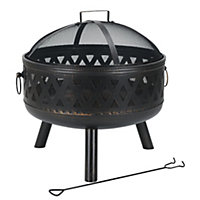 Jumbuck Round Cross Hatch Fire Pit with Lid - 66cm
