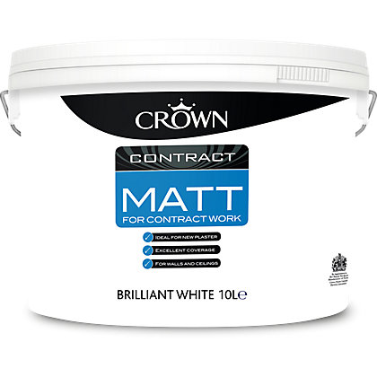Image for Crown Brilliant White Matt Contract Paint - 10L from StoreName