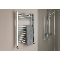 Qual-Rad Straight Heated Towel Rail - 750 x 500mm - Chrome