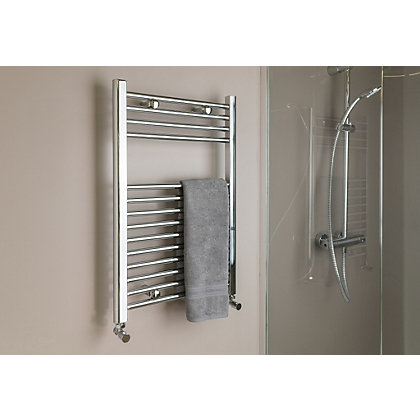 Image for Qual-Rad Straight Heated Towel Rail - 750 x 500mm - Chrome from StoreName