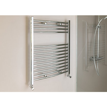 Image for Qual-Rad Curved Heated Towel Rail - 750 x 500mm - Chrome from StoreName