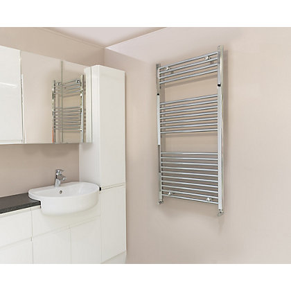 Image for Qual-Rad Curved Heated Towel Rail - 1200 x 500mm - Chrome from StoreName