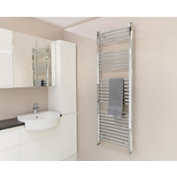 Qual-Rad Curved Heated Towel Rail - 1500 x 500mm - Chrome