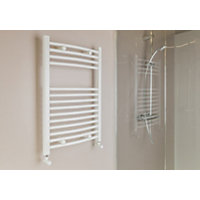 Qual-Rad Curved Heated Towel Rail - 750 x 500mm - White