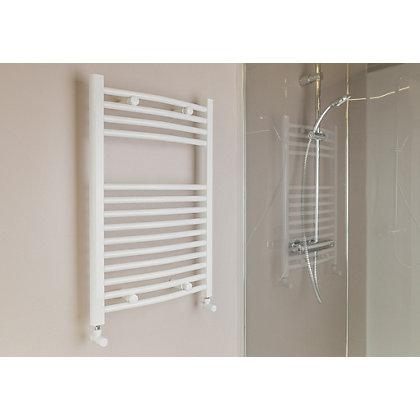 Image for Qual-Rad Curved Heated Towel Rail - 750 x 500mm - White from StoreName