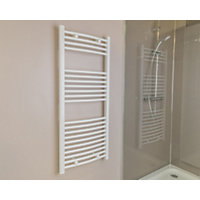 Qual-Rad Curved Heated Towel Rail - 1200 x 500mm - White