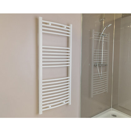 Image for Qual-Rad Curved Heated Towel Rail - 1200 x 500mm - White from StoreName