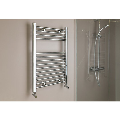 Image for Qual-Rad Straight Heated Towel Rail - 750mm x 600mm - Chrome from StoreName