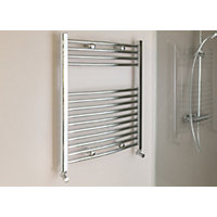 Qual-Rad Curved Heated Towel Rail - 750mm x 600mm - Chrome