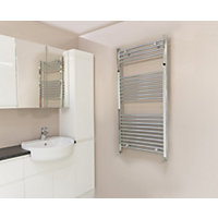 Qual-Rad Curved Heated Towel Rail - 1200mm x 600mm - Chrome