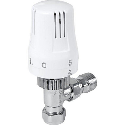 Image for Thermostatic Radiator Valve - Angled - White from StoreName