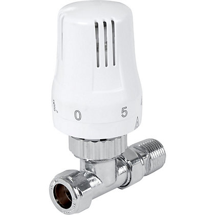 Image for Thermostatic Radiator Valve - Straight - White from StoreName