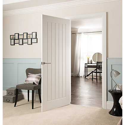 Image for Cottage Moulded Primed Woodgrain Internal Door - 762mm Wide from StoreName