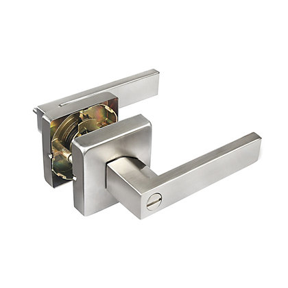 Image for Ikonic Victoria Brushed Nickel Privacy Lever Set from StoreName
