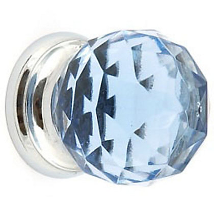 Image for Blue Glass and Chrome Cabinet Door Knob - 32mm from StoreName