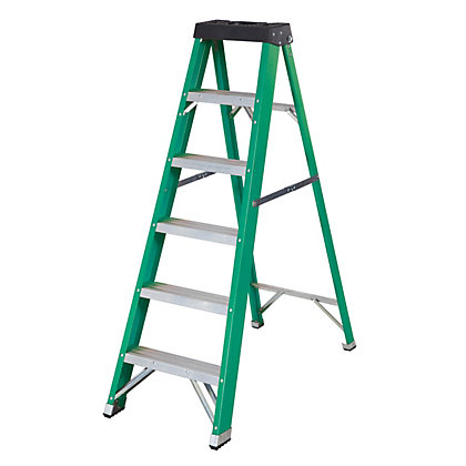 Image for Abru Fibreglass 6T Swingback Stepladder from StoreName