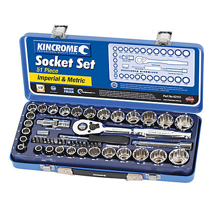 Image for Kincrome Socket Set Mirror Polish 1/2in - 51 Piece from StoreName