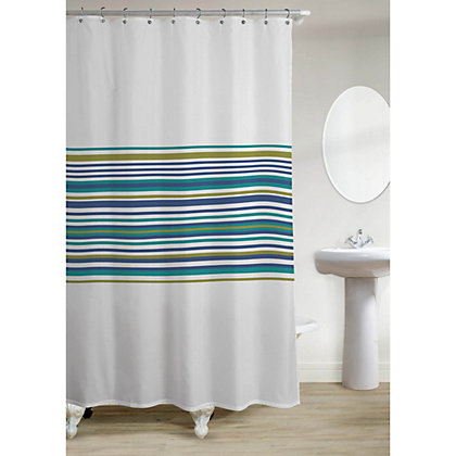 Image for Estilo Banded Stripe Shower Curtain - Teal from StoreName