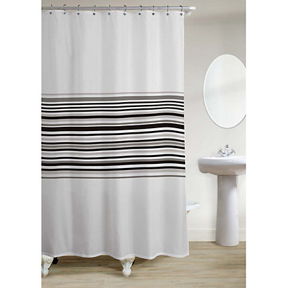 Image for Banded Stripe Shower Curtain - Black from StoreName